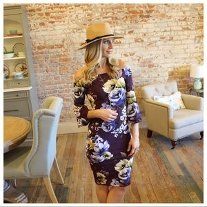 Plum floral off shoulder bell sleeve dress